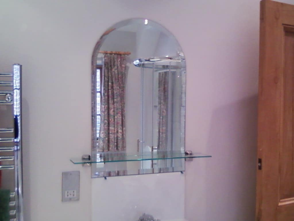 Arched Top 6mm Thick Mirror With 25mm Bevelled Edges Glued To Fix