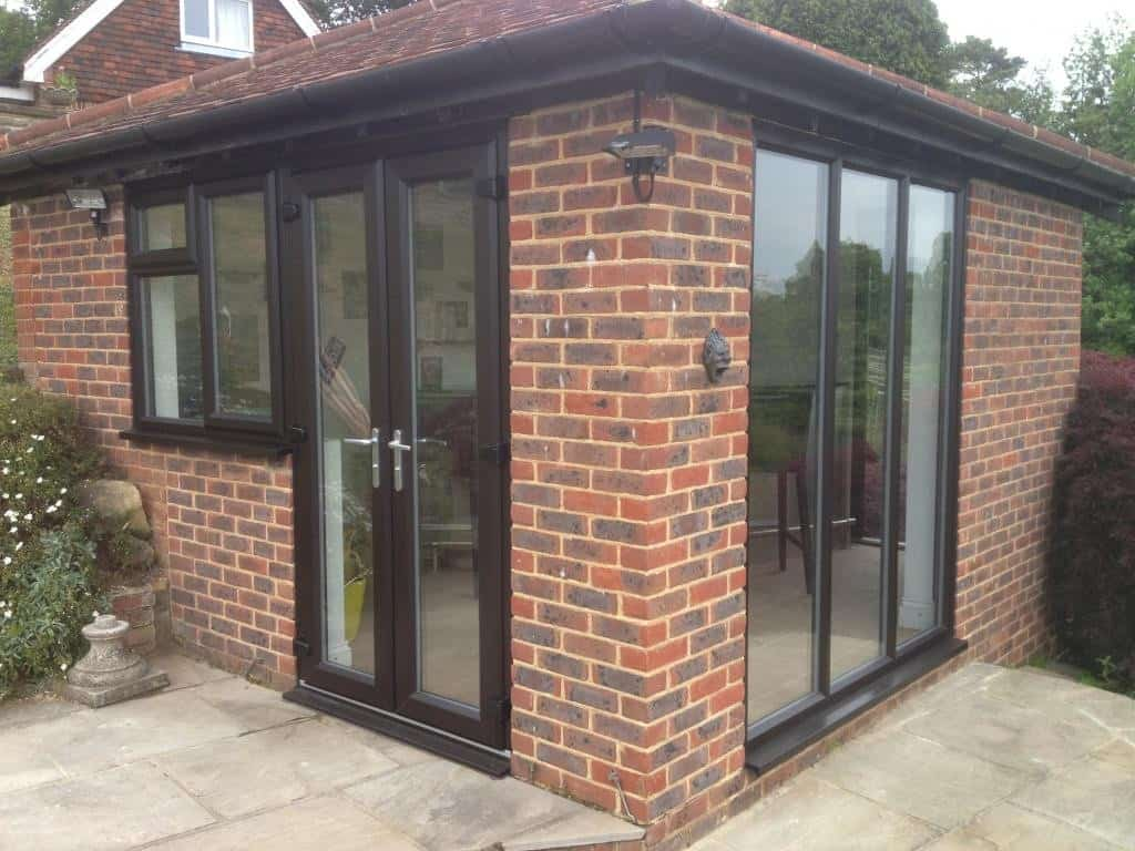 New Black Brown uPVC windows and French Doors Dorking Surrey