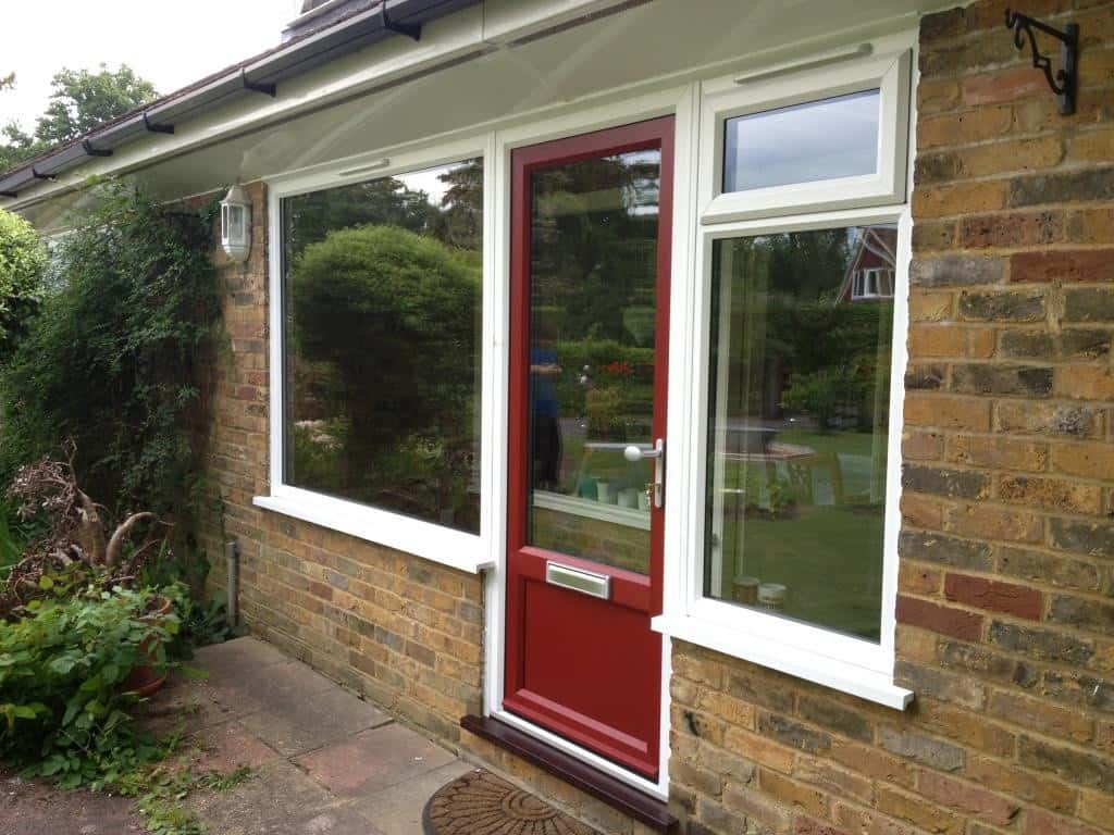 porch uPVC door in red woodgrain Bookham Surrey