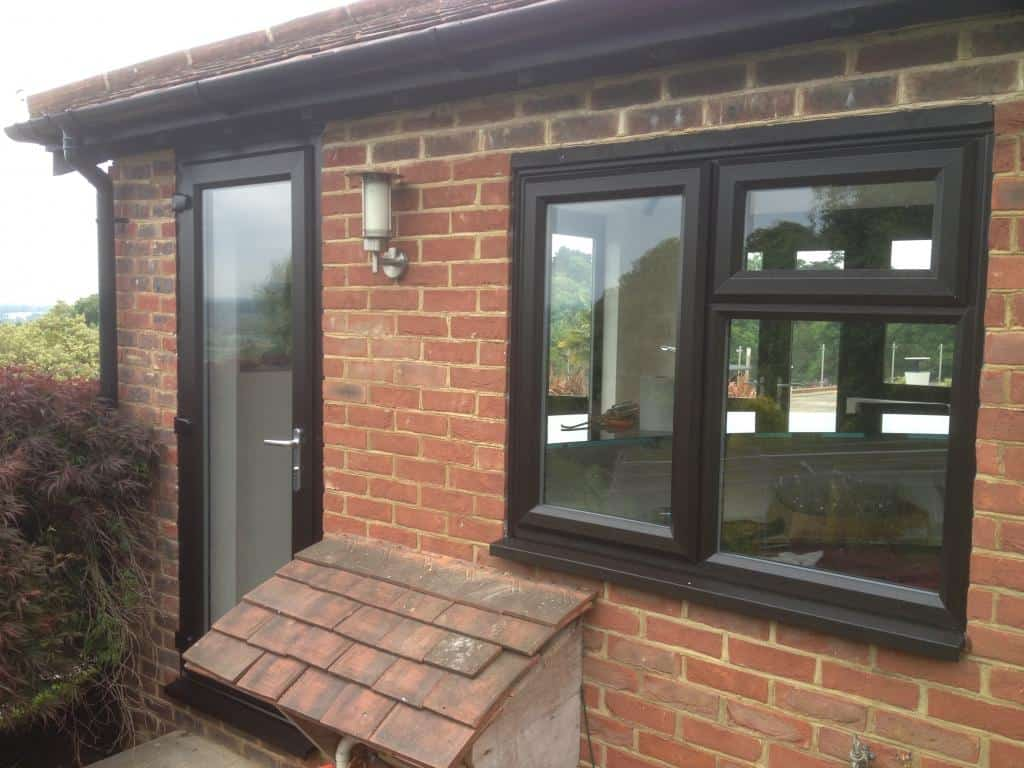 New black brown upvc windows and french doors dorking glass for Brown upvc door