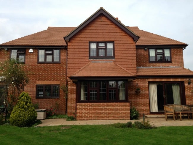 Rosewood out / white in Liniar profile uPVC
