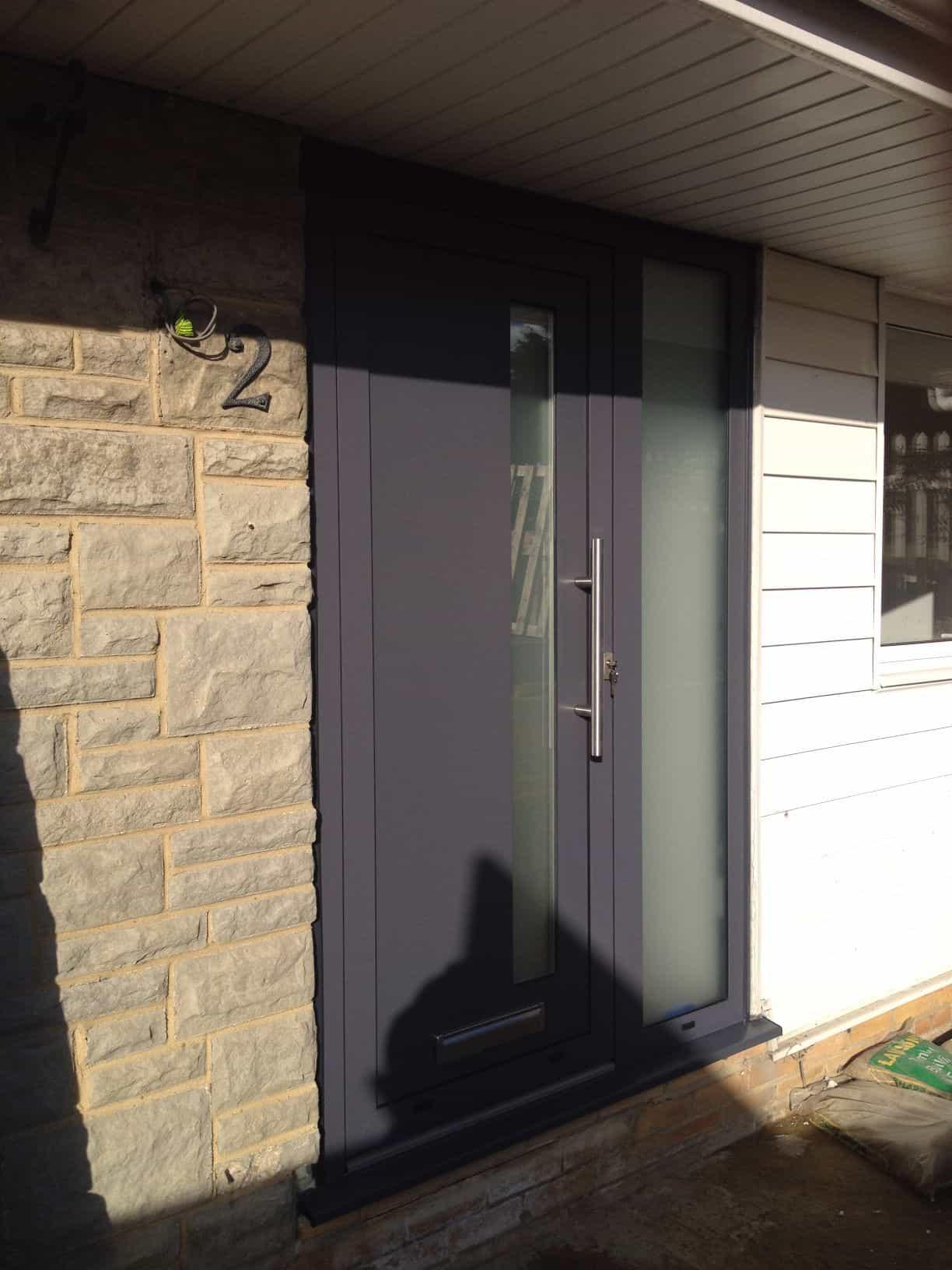 Double Glazing Grey Aluminium Front Door In Reigate Dorking Gl