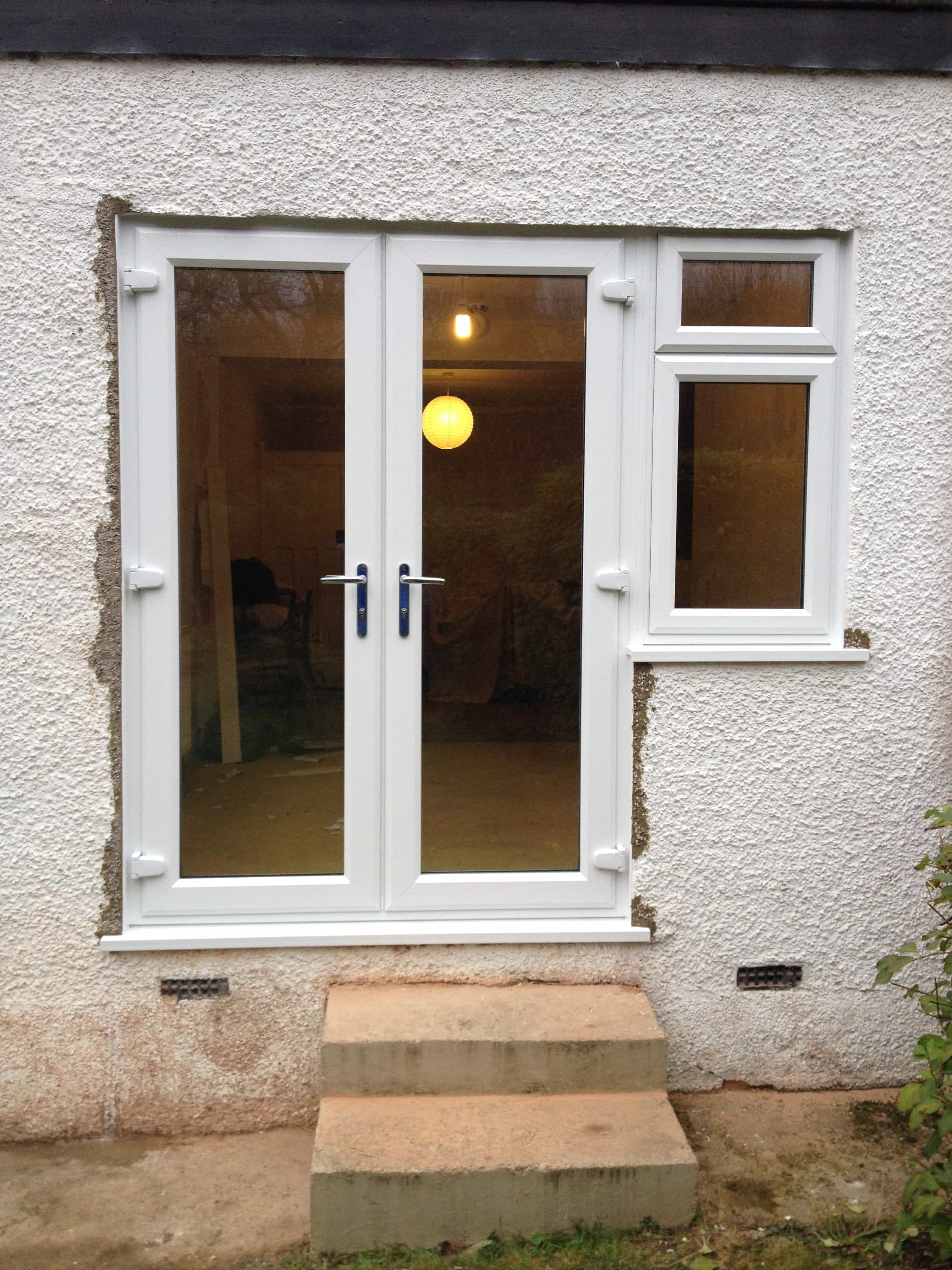 Double White Windows : Upvc doors front double sliding patio