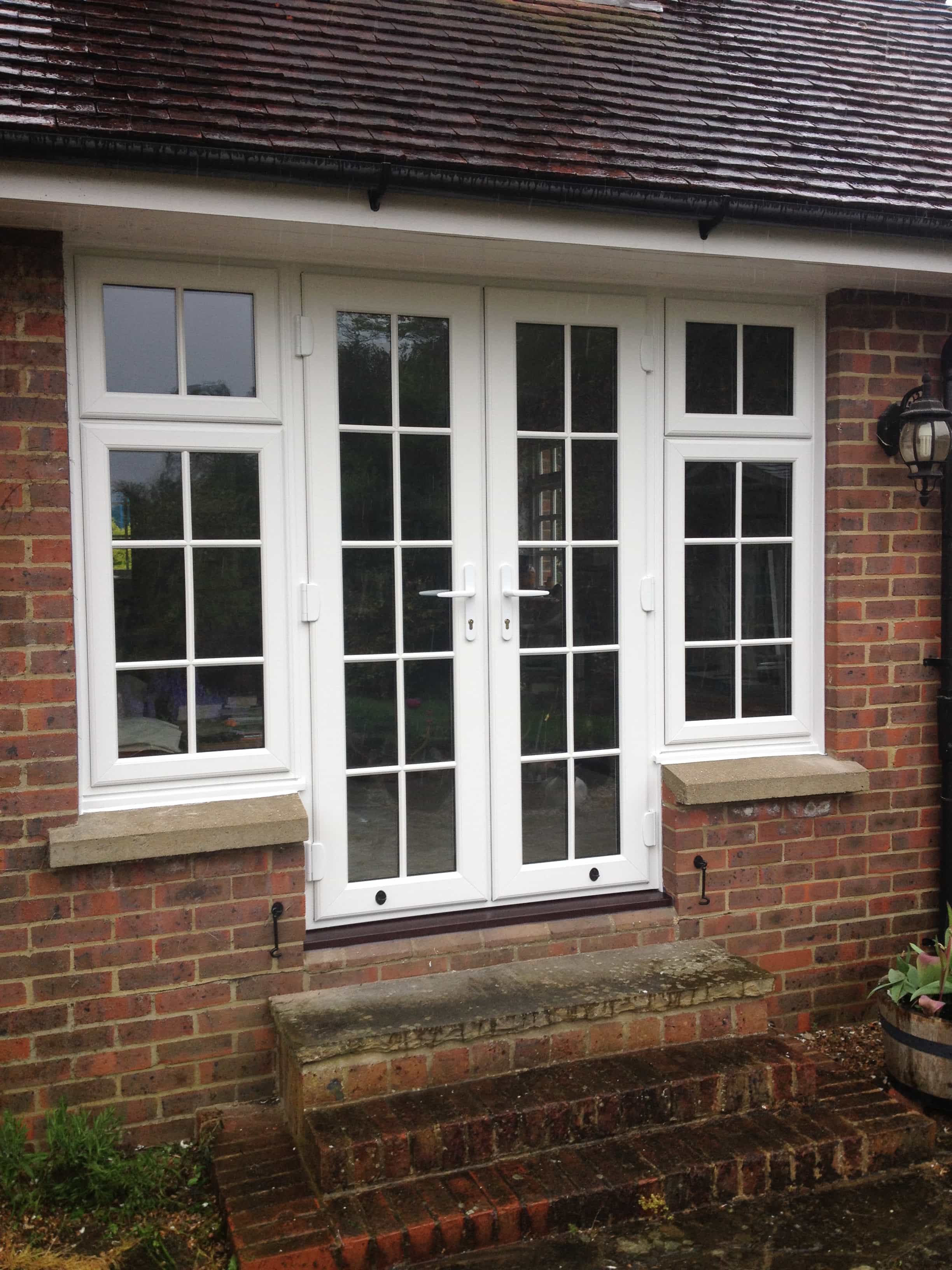 Upvc doors front doors double doors sliding patio for Patio doors with side windows